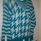 "*~NWT Vintage ""Alexander's Teal & White L/S Sweater sz M"