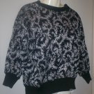 *~NWOT Vintage Estate Black & Silver Splat Knit top sz M