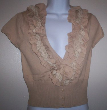 *~SALE!! NWT Mandee Ruffle & Lace Knit S/s Top sz M