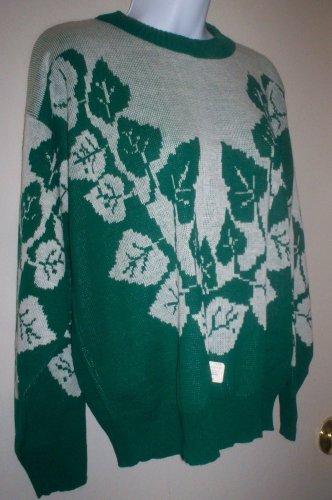 *~SALE!! Vintage vtg 80's Teasers L/S Sweater sz M UNISEX??? Green/White
