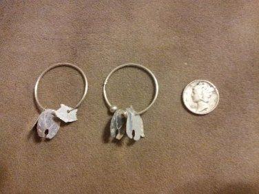 *~New Vintage Sterling Silver Raccoon Hoop earrings