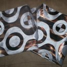 "*~2 New Grey/Bwn Velvet & Foil Abstract Print Throw Pillow Cases/Covers 17""x17"""