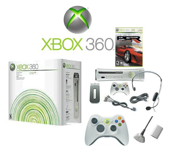 "Xbox 360 ""Premium Gold Pack"" Video Game System Bundle - 1 Game - 2 Wireless Controllers & More"