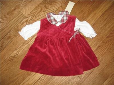 RALPH LAUREN HOLIDAY RED VELVET PLAID DRESS 6 months