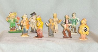 Group of Nine Marx Vintage Hard Plastic People  Figures