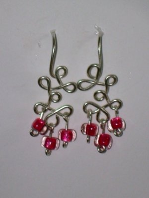 silver loops with pink beads