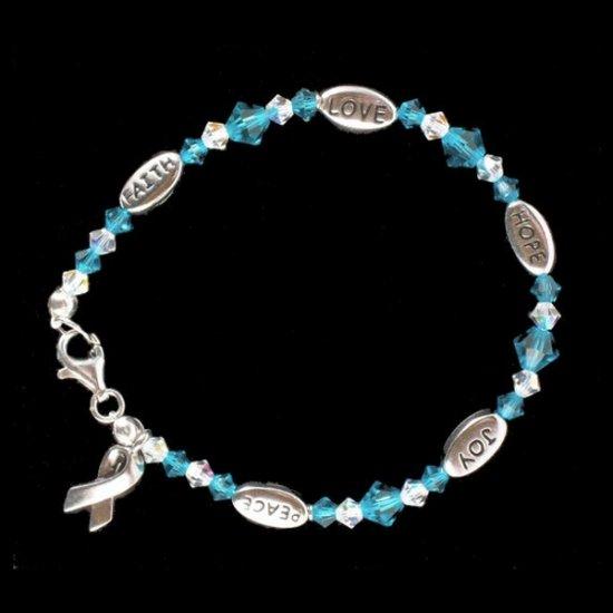 Love, Hope, Faith, Joy, and Peace Bracelet - Teal