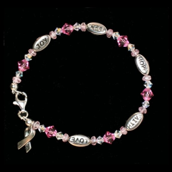 Love, Hope, Faith, Joy, and Peace Bracelet - Pink