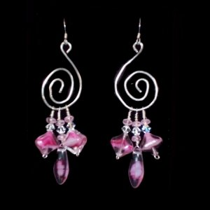 small spiral with pink hanging beads