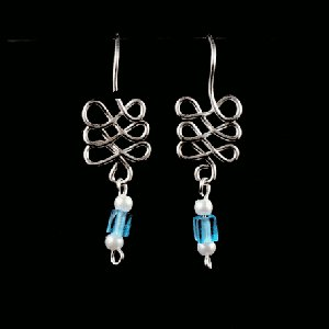 silver figure 8s with blue beads