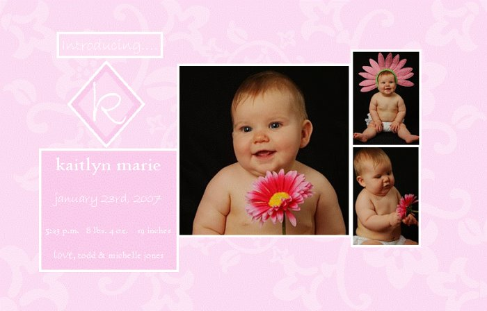 Customizable Brith Announcements : Floral Matelasse