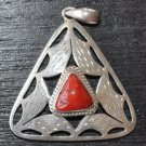 Triangule pendant with coral ston-p6-rs