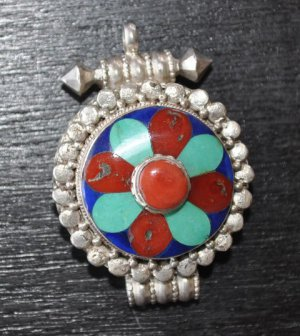 Pendant with coral turguise-p1-rs