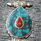 Heart pendant with turquise coral-p12-rs