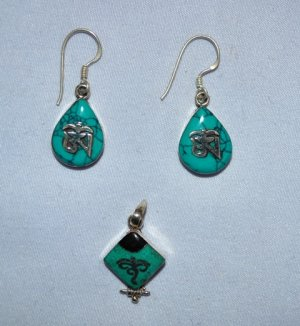 Tiny Ear Ring and Pendant set