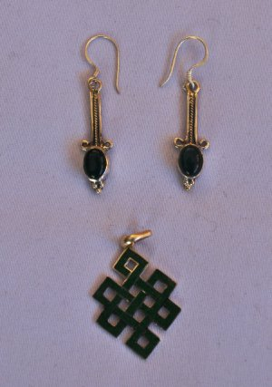 Dark Green earrings and pendanat