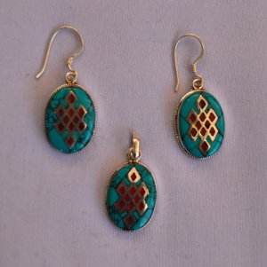 Turquoise stone sterling silver jewellery set