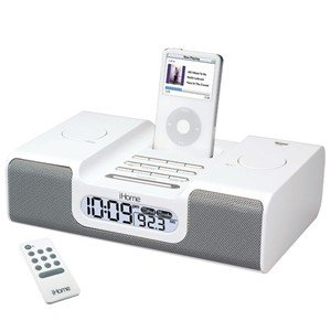 iHome iH6 Clock Radio for iPod (White), Dual Alarm Clock Radio