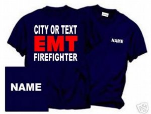 Personalized EMT/EMS Firefighter T-shirt Fire Department Uniforms
