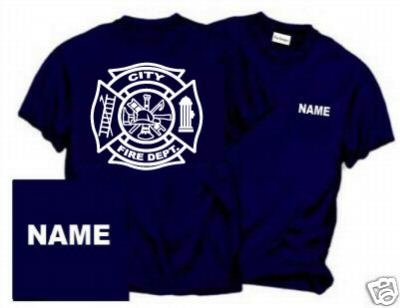 Personalized Maltese Cross Firefighter T-shirt Fire Department Uniforms