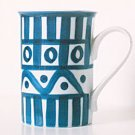 Dansk ARABESQUE Coffee Mug Abstract Blue & White