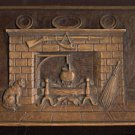 Syroco Wood Plaque Fireplace Cat Wall Decor USA Vintage