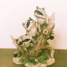 Homco Figurine THREE RACCOONS ON TREE STUMP 1433