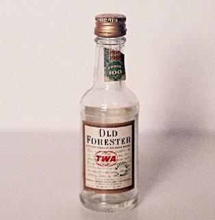 TWA Old Forester Bourbon Whiskey Miniature Bottle 1969