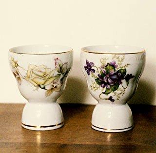 Japan Floral ROSES & VIOLETS Egg Cup Set 2