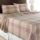 Tan Red Plaid FLANNEL FULL Sheet Set NEW 4pc Set Home Classics Winter