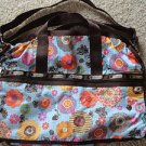 Lesportsac FANCY FLORAL Brown Large Weekender Duffel Bag NEW + Bonus!
