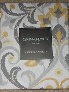 Cynthia Rowley Yellow Gray Baaman Scroll Paisley Damask Shower Curtain NEW  White  Cynthia Rowley Curtains