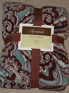 Aqua Blue Brown Paisley Damask Soft Throw Blanket
