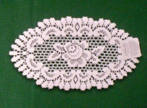 Rose Lace Doily 8 Inches x 14 Inches Off White