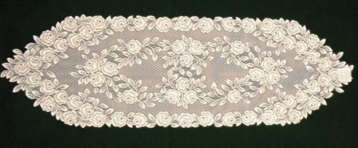 Tea Rose Table Runner 14x48 Ecru Heritage Lace