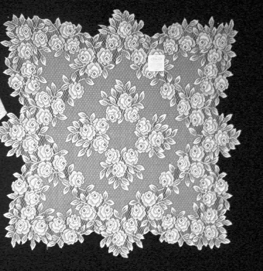 Tea Rose Table Topper 30x30 White Heritage Lace