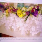 Tea Rose Lace Mantle Scarf 20 Inches x 90 Inches  White