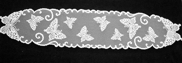 Butterflies Table Runner 12 x 54 White Heritage Lace
