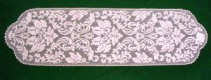 Heritage Damask Table Runner 14 x 49 Pearl Heritage Lace