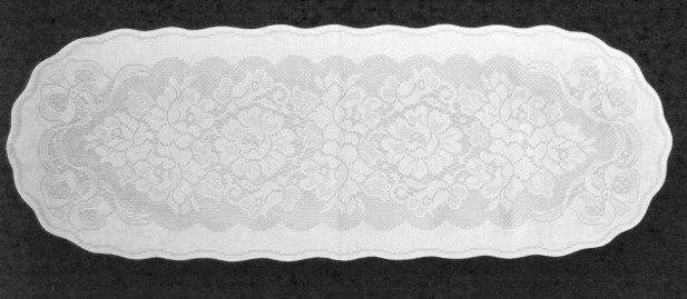 Lovely Roses and Bows Table Runner White Over White 13 x 38