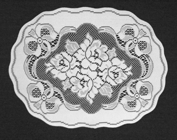 Elegant Roses N Bows Doily or Placemat 14 x 19 White Set Of (3)