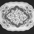 Elegant Roses and Bows Doily or Placemat 14 x 18 White