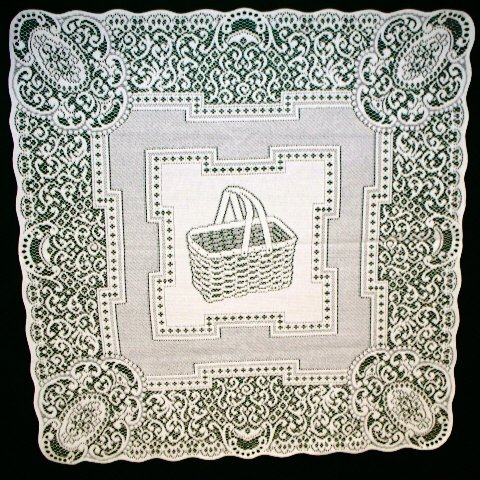 Picnic Basket Table Topper White 34x34