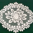 Pretty Rose Doily  Off-White 12 Inches x 15 Inches