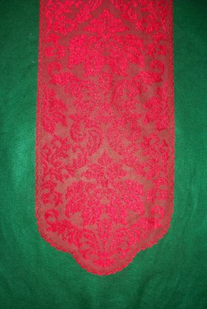 Heritage Damask Table Runner 14 W x 49 L Red Heritage Lace