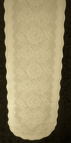 Gorgeous Roses and Bows Table Runner 14 Inches x 57 Inches Long Ivory