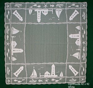Table Topper Harbor Lights Table Topper 42 x 42 White Heritage Lace