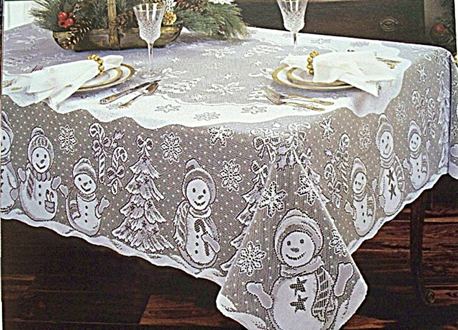 Product - Poinsettia Red Lace Christmas Tablecloth, Round. Product Image. Price $ 7. Product Title. Poinsettia Red Lace Christmas Tablecloth, Round. Lace Tablecloths Round, Lace Table Overlay Linens, Lace Table Toppers for Wedding Decorations, Events Banquet Party Supplies - Champagne. Product Image. Price $ .