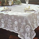Christmas Tablecloths Snowman Family White 60x104 White