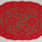 Table Placemats Poinsettia Red/Green 13x19 Set Of (4)